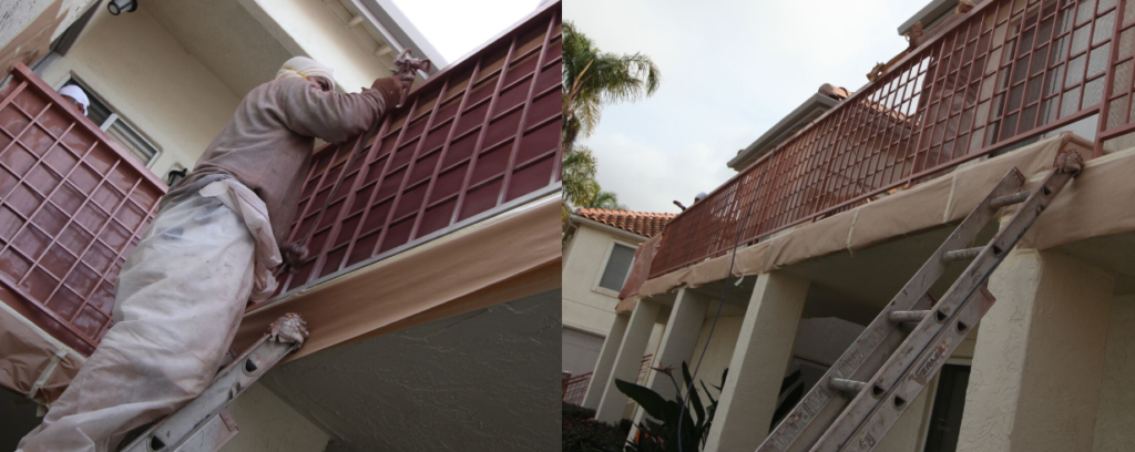 Commercial painting on a metal railing on an Oceanside HOA