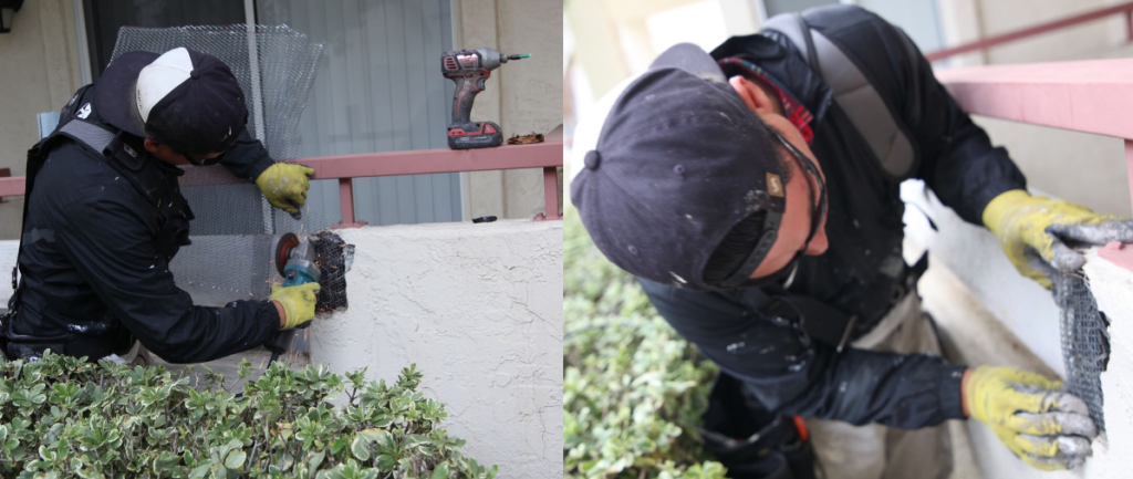 A commercial painter repairing stucco at an Oceanside CA condo